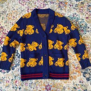 Handmade Bear Printed Woolen Cardigan In Navy